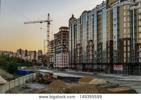 BELGOROD RUSSIA - SEPTEMBER 10 2016: Housing construction in the city of Belgorod. The construction of the residential complex