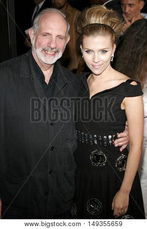 Brian De Palma and Scarlett Johansson at the Los Angeles premiere of 'The Black Dahlia' held at the Academy of Motion Picture Arts and Sciences in Beverly Hills, USA on September 6, 2006.