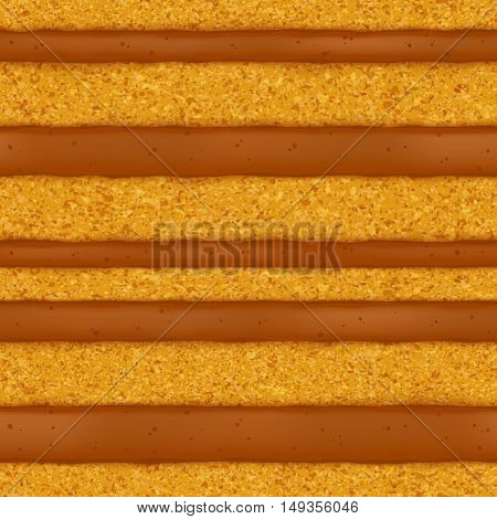 Sponge cake with caramel cream filling background. Colorful seamless texture. Vector illustration. Good for bakery menu design - poster banner flyer packaging.
