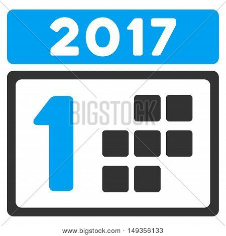 2017 First Day icon. Vector style is flat iconic symbol on a white background.