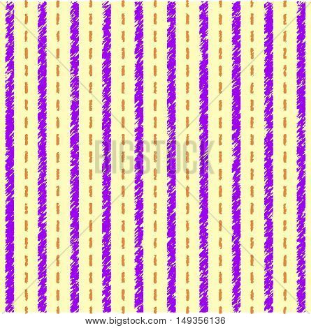 Striped yellow purple pattern. Vector seamless pattern with grunge stripes.