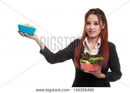 Young Asian Business Woman With Potato Chips And Salad.