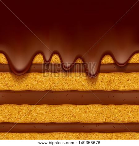 Sponge cake with chocolate cream filling and chocolate flow background. Colorful seamless texture. Vector illustration. Good for bakery menu design - poster banner flyer packaging.