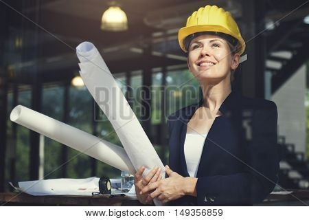 Businesswoman Architect Engineer Construction Design Concept