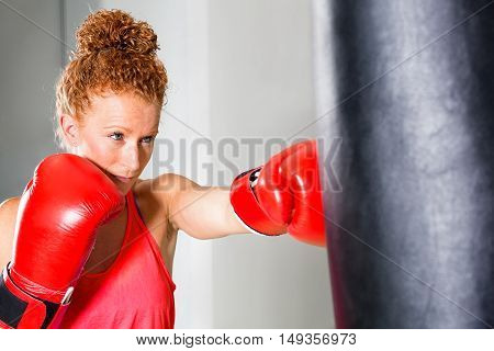 Determined Young Female Boxer