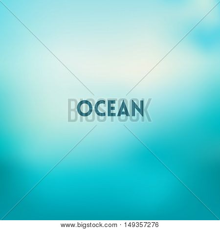 square blurred turquoise background - sky water sea colors With text ocean