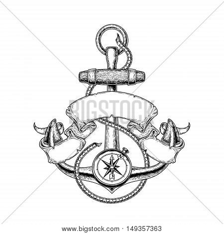 Vector illustration nautical anchor with ribbon, print