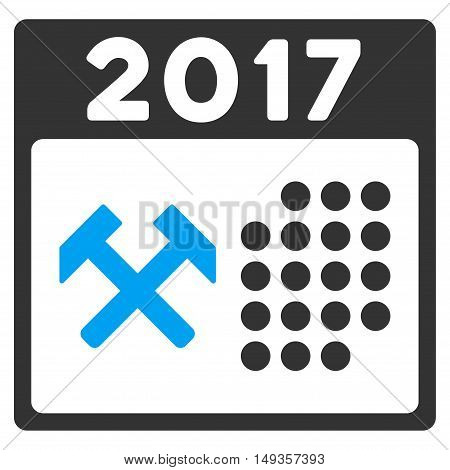 2017 Working Days icon. Vector style is flat iconic symbol on a white background.