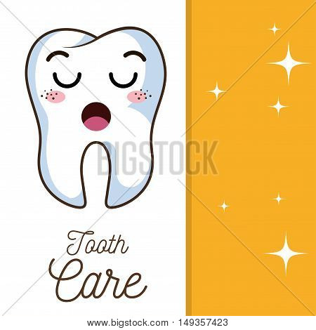 cartoon human tooth with lazy expression face. vector illustration