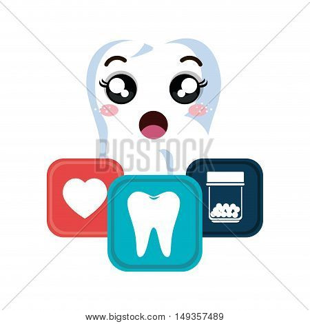 cartoon human tooth with surprised expression face and dental icons. vector illustration