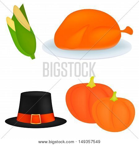 Set of cartoon icons for thanksgiving dinner is roast Turkey, pumpkin, pilgrim hat, corn. Vector illustration
