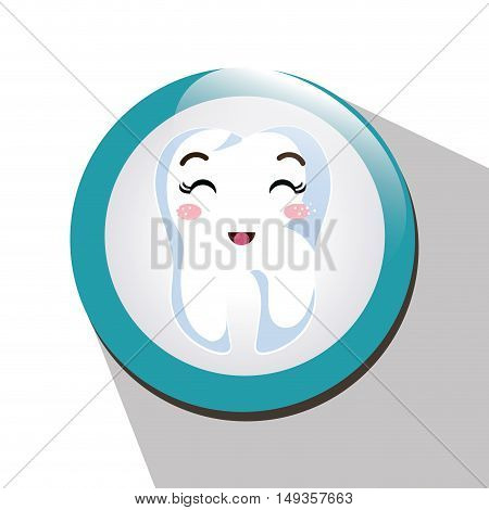 cartoon human tooth with happy expression face over blue and white circle. vector illustration