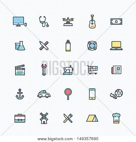 Flat icons, colorful outline icon designs, web icons, icon set