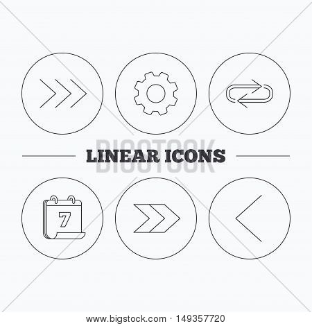 Arrows icons. Right direction, repeat linear signs. Next, back arrows flat line icons. Flat cogwheel and calendar symbols. Linear icons in circle buttons. Vector