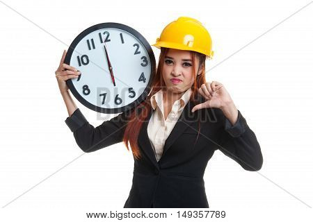 Asian Engineer Woman Thumbs Down With A Clock.