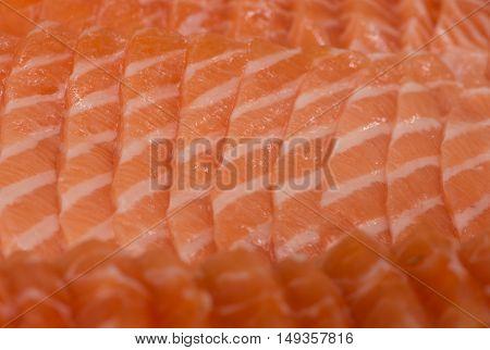 close up sliced fresh salmon sushi (Salmon sashimi)