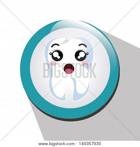 cartoon human tooth with surprised expression face over blue and white circle. vector illustration