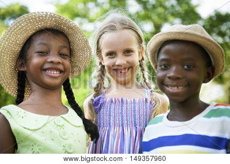 Child Friends Boys Girls Playful Nature Offspring Concept