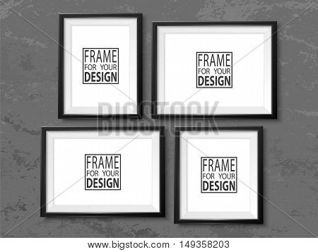 Frames wall gallery on grunge grey wall. Black photoframe mockup. Empty framing for your design. Vector picture frame template for painting drawing poster quote or photo.