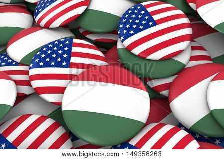 Usa And Hungary Badges Background - Pile Of American And Hungarian Flag Buttons 3D Illustration