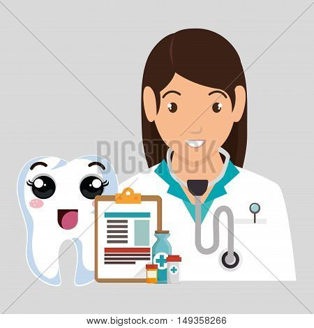 avatar woman dentist with human tooth smiling cartoon. vector illustration