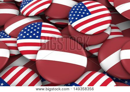 Usa And Latvia Badges Background - Pile Of American And Latvian Flag Buttons 3D Illustration
