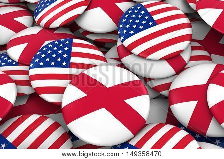 Usa And Northern Ireland Badges Background - Pile Of American And Northern Irish Flag Buttons 3D Ill