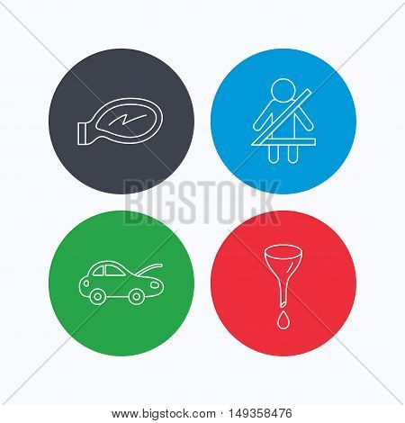 Car mirror repair, oil change and seat belt icons. Fasten seat belt linear sign. Linear icons on colored buttons. Flat web symbols. Vector