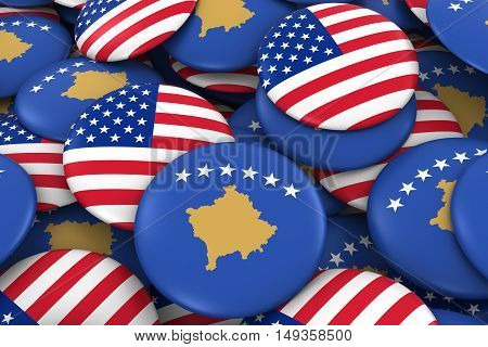 Usa And Kosovo Badges Background - Pile Of American And Kosovan Flag Buttons 3D Illustration