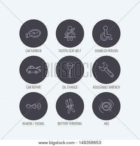 Car mirror repair, oil change and wrench tool icons. ABS, klaxon signal and fasten seat belt linear signs. Disabled person icons. Linear icons in circle buttons. Flat web symbols. Vector