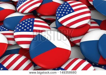Usa And Czech Republic Badges Background - Pile Of American And Czech Flag Buttons 3D Illustration