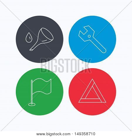 Flag pointer, emergency sign and wrench key icons. Emergency triangle, oil change linear signs. Linear icons on colored buttons. Flat web symbols. Vector