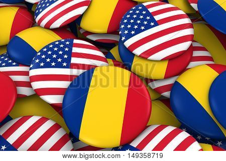 Usa And Romania Badges Background - Pile Of American And Romanian Flag Buttons 3D Illustration