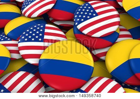 Usa And Colombia Badges Background - Pile Of American And Colombian Flag Buttons 3D Illustration