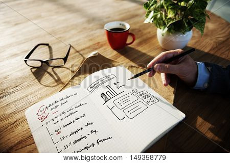 Business Plan Graph Growth Writing Notebook Concept