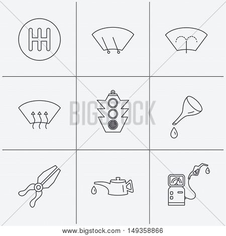 Motor oil change, traffic lights and pliers icons. Gas station, heated window and manual gearbox linear signs. Washing window icons. Linear icons on white background. Vector