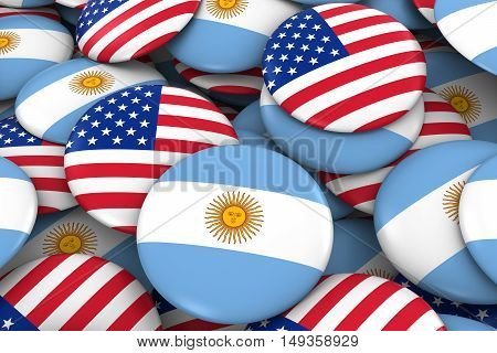 Usa And Argentina Badges Background - Pile Of American And Argentinian Flag Buttons 3D Illustration