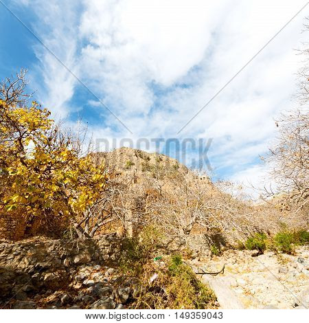 In Oman Mountain The Old Abandoned Village Arch    House And  Cloudy Sky