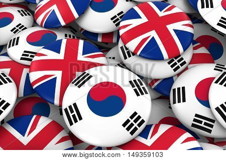 South Korea And Uk Badges Background - Pile Of South Korean And British Flag Buttons 3D Illustration