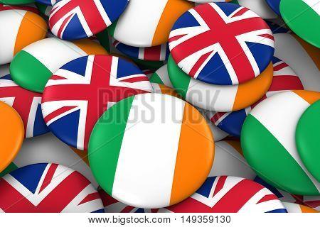 Ireland And Uk Badges Background - Pile Of Irish And British Flag Buttons 3D Illustration