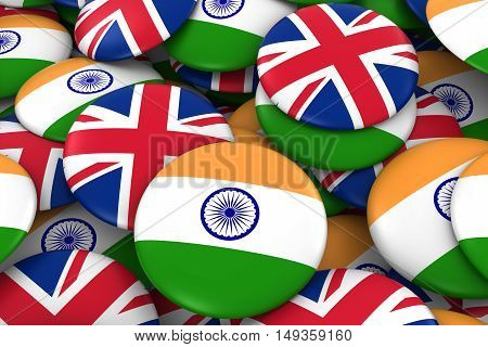 India And Uk Badges Background - Pile Of Indian And British Flag Buttons 3D Illustration