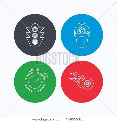 Race, traffic lights and speed icons. Bucket with foam, fire wheel linear signs. Linear icons on colored buttons. Flat web symbols. Vector