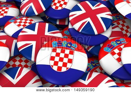 Croatia And Uk Badges Background - Pile Of Croatian And British Flag Buttons 3D Illustration
