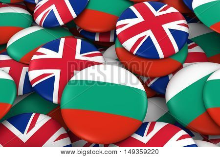 Bulgaria And Uk Badges Background - Pile Of Bulgarian And British Flag Buttons 3D Illustration