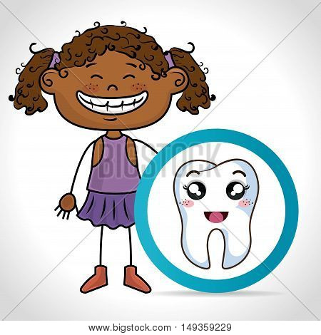 cartoon girl smiling with human tooth with happy expression face. vector illustration
