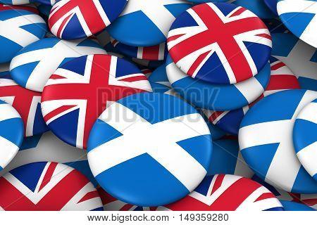 Scotland And Uk Badges Background - Pile Of Scottish And British Flag Buttons 3D Illustration