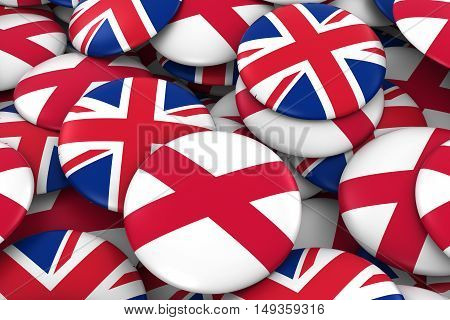 Northern Ireland And Uk Badges Background - Pile Of Northern Irish And British Flag Buttons 3D Illus