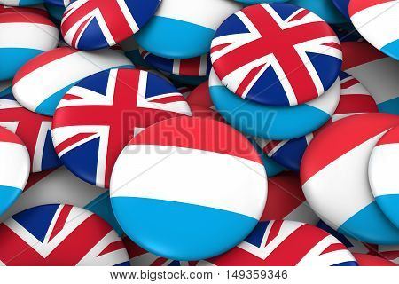 Luxembourg And Uk Badges Background - Pile Of Luxembourgish And British Flag Buttons 3D Illustration