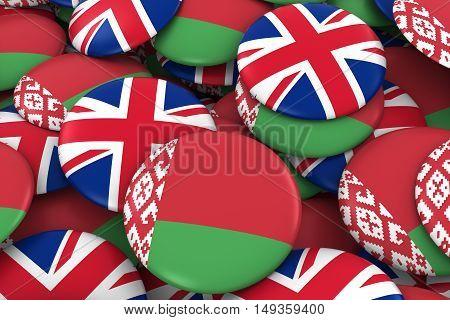 Belarus And Uk Badges Background - Pile Of Belarusian And British Flag Buttons 3D Illustration