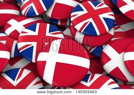 Denmark And Uk Badges Background - Pile Of Danish And British Flag Buttons 3D Illustration